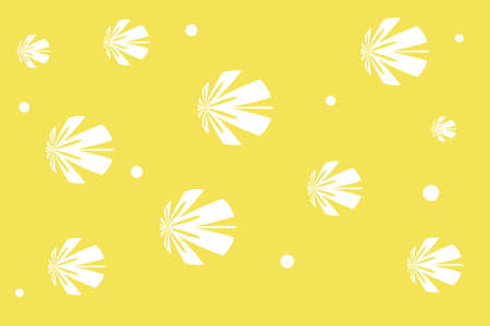 white: Yellow background with white flowers
