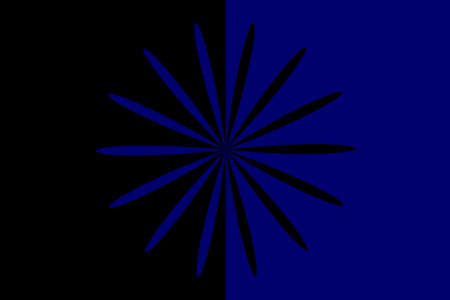 Abstract black and dark blue flower