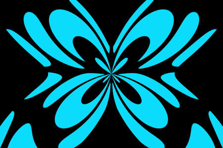 Black background with an abstract cyan and black butterfly Illustration