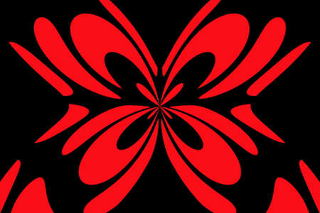 Black background with an abstract red and black butterfly