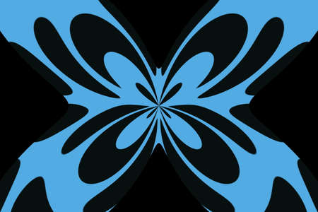 Black background with an abstract blue and black butterfly
