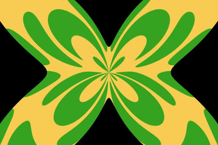 Black background with an abstract green and orange butterfly