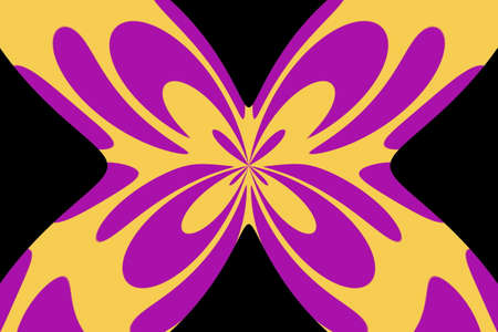 Black background with an abstract purple and orange butterfly