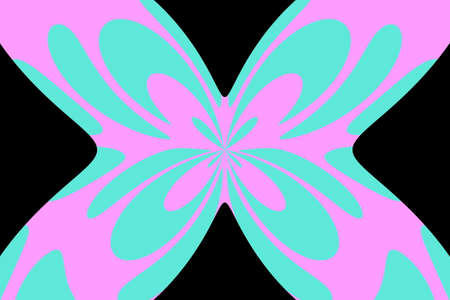 Black background with an abstract cyan and pink butterfly Illustration