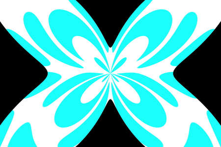 Black background with an abstract cyan and white butterfly Illustration