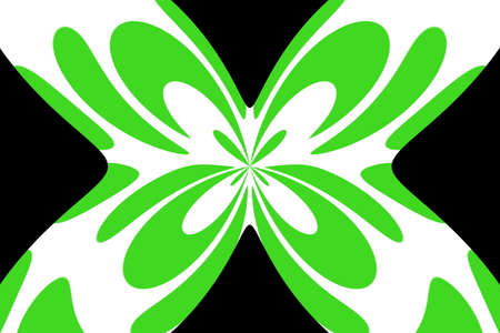 Black background with an abstract green and white butterfly Illustration