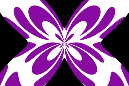 Black background with an abstract purple and white butterfly Illustration
