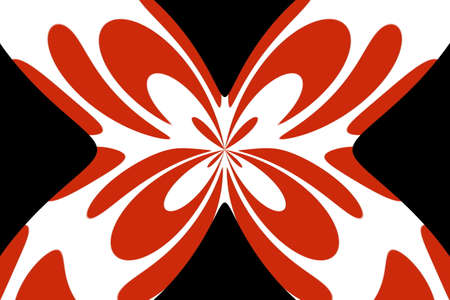 Black background with an abstract red and white butterfly