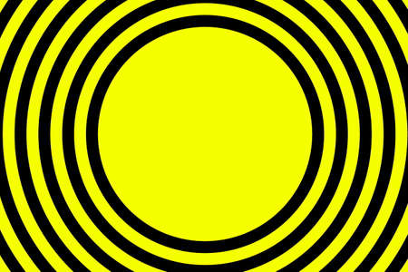converging: Illustration of yellow and black concentric circles with space in the middle Illustration