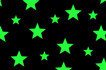 Illustration of green stars on a black background