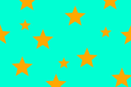 Illustration of orange stars on a cyan background