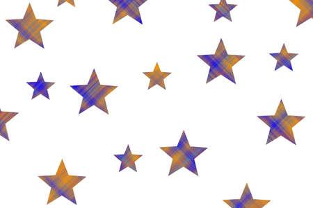Orange and dark blue checkered stars on a white background