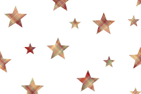 Red and vanilla checkered stars on a white background