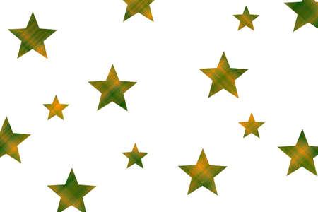 Orange and dark green checkered stars on a white background