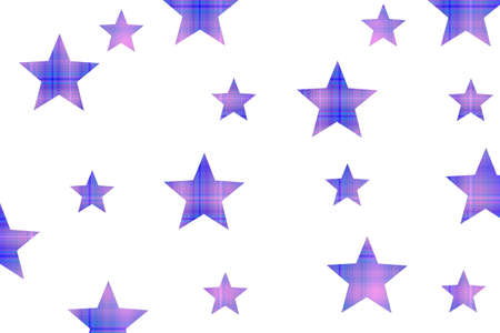 Pink and dark blue checkered stars on a white background