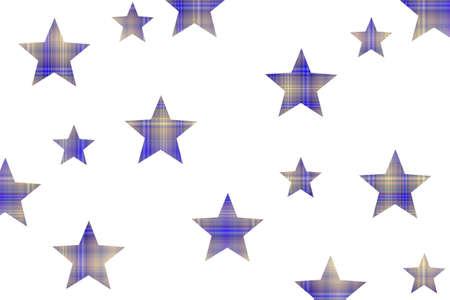 Dark blue and vanilla checkered stars on a white background