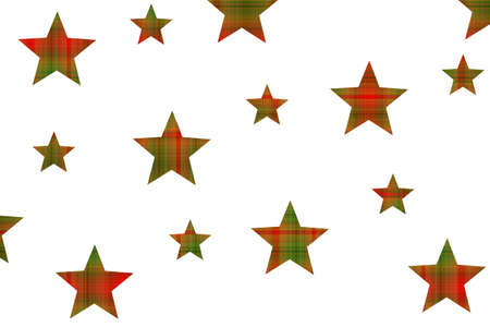 Red and green checkered stars on a white background Stock Photo