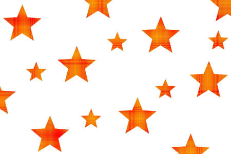 Red and orange checkered stars on a white background