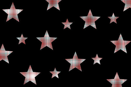 Red and white checkered stars on a black background