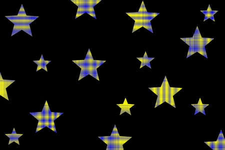 Yellow and dark blue checkered stars on a black background
