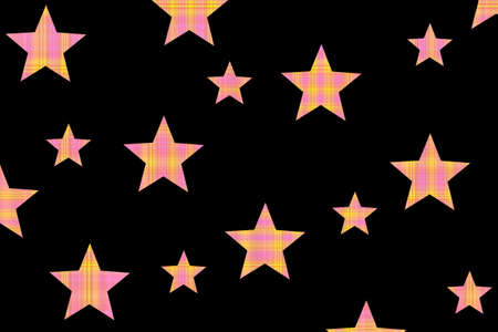 Pink and yellow checkered stars on a black background