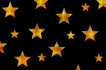 Yellow and red checkered stars on a black background