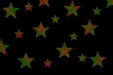 Red and dark green checkered stars on a black background