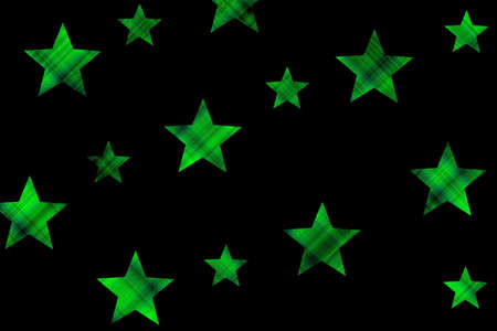 Black background with green checkered stars