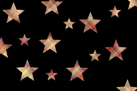 Black background with red and vanilla checkered stars Stock Photo