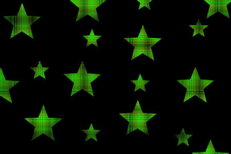 Black background with green and black checkered stars