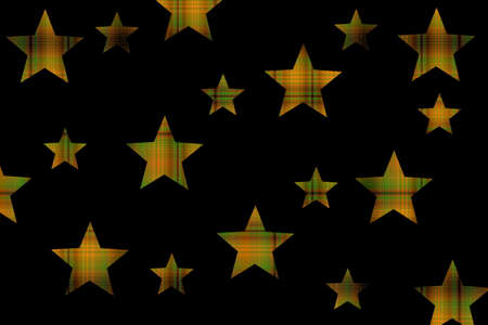 Black background with orange and black checkered stars Stock Photo