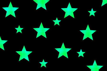 Black background with green and cyan checkered stars