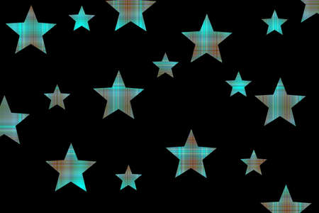 Black background with cyan and brown checkered stars Stock Photo