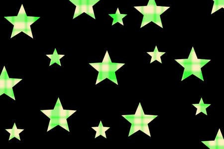 Black background with green and vanilla checkered stars Stock Photo