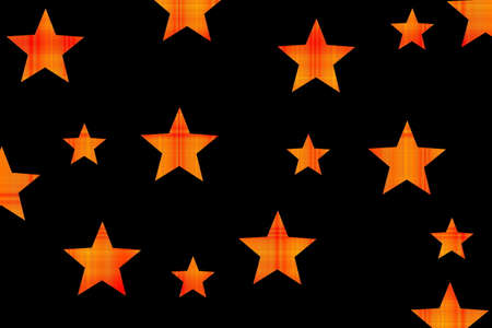 Black background with red and orange checkered stars