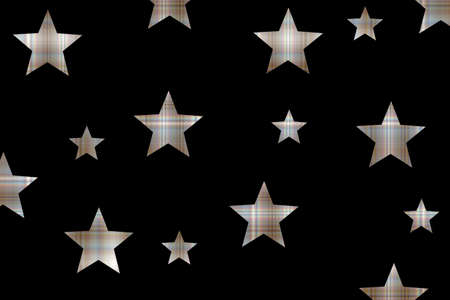 Black background with brown and white checkered stars