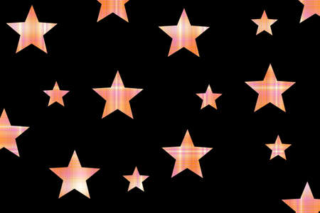 Black background with orange and white checkered stars