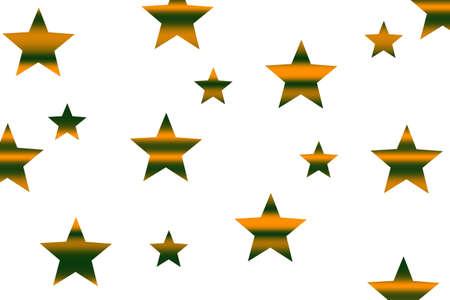 Orange and dark green horizontally striped stars on a white background