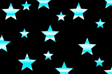 Cyan and white horizontally striped stars on a black background