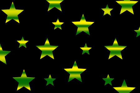 Green and yellow horizontal striped stars on a black background