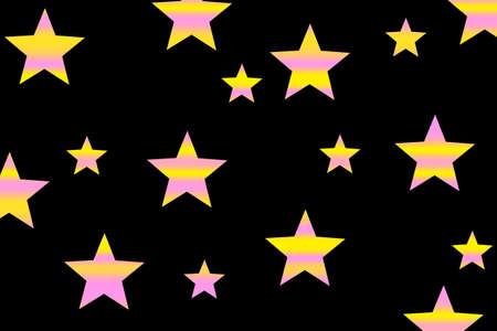 Pink and yellow horizontal striped stars on a black background Stock Photo