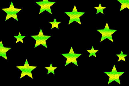Yellow and green mosaic stars on a black background