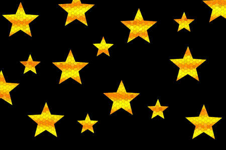 Yellow and orange mosaic stars on a black background