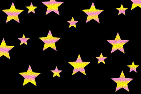 Pink and yellow mosaic stars on a black background
