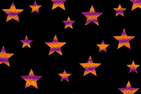 Purple and orange mosaic stars on a black background