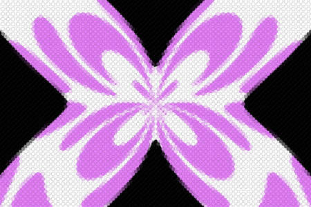 Pink and white mosaic butterfly on a black background