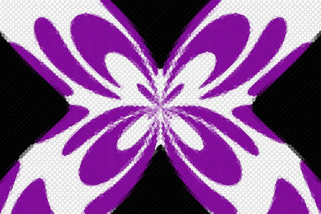 Purple and white mosaic butterfly on a black background