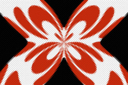 Red and white mosaic butterfly on a black background