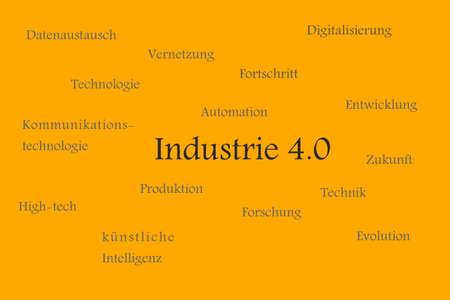 Illustration of Industy 4.0 explained in german Zdjęcie Seryjne