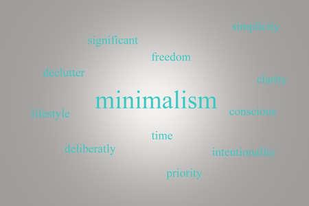 파란색 단어로 회색 배경에 infographic 약 minimalism의 그림